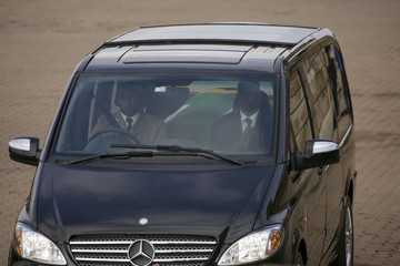 Funeral cortege carrying the coffin of South African former president Nelson Mandela arrives to the Union Buildings in Pretoria