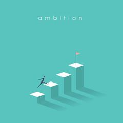 Ambition vector concept with businessman jump on graph columns. Success, achievment, motivation business symbol.