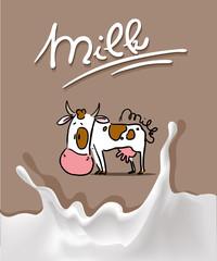 splash milk design with cow cartoon and milk symbol - vector illustration