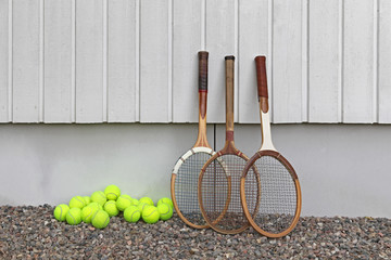 Old wooden rackets at Tennis club