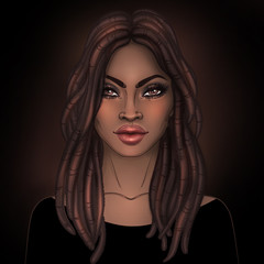 African American pretty girl. Raster Illustration of Black Woman with dread locks glossy lips. Great for avatars.