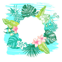 Background with Ink hand drawn tropical elements - Banana and palm leaves, orchid flowers, frangipani, monstera, pineapple. Template for cards, banners, flyers, labels. Vector illustration.