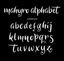 Mahyro vector alphabet lowercase characters. Good use for logotype, cover title, poster title, letterhead, body text, or any design you want. Easy to use, edit or change color.