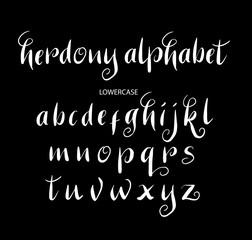 Herdony vector alphabet lowercase characters. Good use for logotype, cover title, poster title, letterhead, body text, or any design you want. Easy to use, edit or change color.