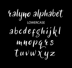 Ralyno vector alphabet lowercase characters. Good use for logotype, cover title, poster title, letterhead, body text, or any design you want. Easy to use, edit or change color.