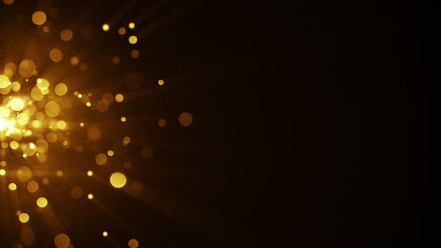 Yellow circle blurred lights on the edge abstract background