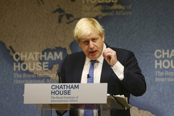 Britain's Foreign Secretary Boris Johnson delivers a speech at Chatham House in London,