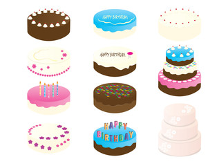 Birthday Cake Clipart - 11 Cake Illustration - wedding Cake digital file - printable cakes