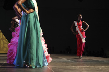 A contestant walks on the stage during the 24th edition of the Most Beautiful Girl in Nigeria (MGBN) beauty pageant in Lagos