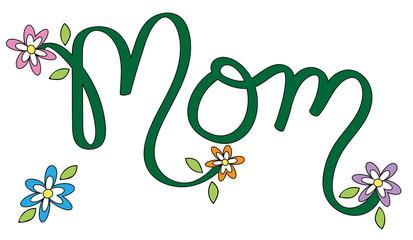 Floral Mom Lettering