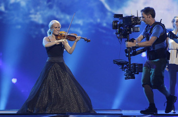 """Greta Salome & Jonsi of Iceland perform their song """"Never Forget"""" during a rehearsal for the Eurovison Song Contest final in Baku"""