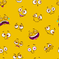 Seamless pattern with funny comic faces on yellow background.