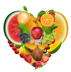 Set of fruit shape heart. Healthy food apple, grapes, melon, watermelon, berry, raspberry, strawberry, sweet cherry