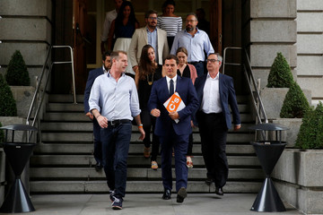 Ciudadanos party leader Albert Rivera heads to address the media at Spanish Parliament in Madrid