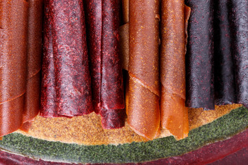 Colorful fruit leather rolls