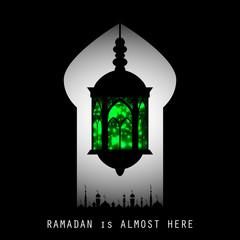 Ramadan Kareem holiday celebration beautiful greeting card background. Islamic celebration design. Arabic lamp. Lantern