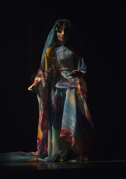 A puppet is used during a rehearsal for a performance based on the Iranian poet Hafez's life story at Ferdowsi hall in central Tehran