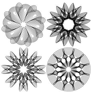 Circle lace patterns, design elements in black outline design, gorgeous symmetric geometric spirograph shapes