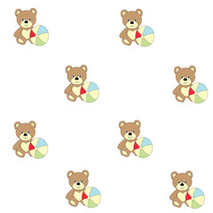 Seamless pattern with children's toys. A vector picture with a bear and a ball