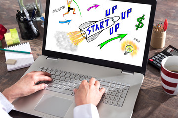 Startup concept on a laptop screen