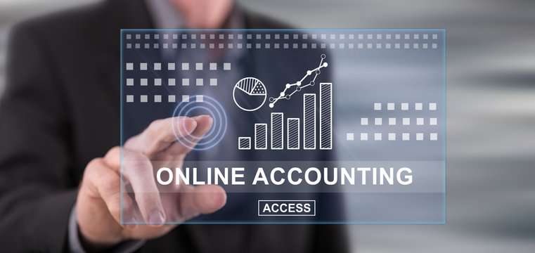 Man touching an online accounting concept on a touch screen
