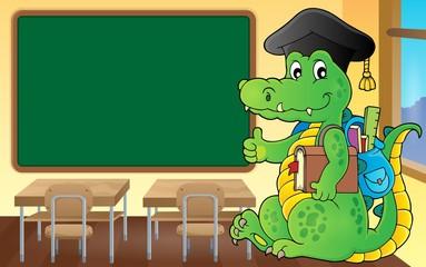 School theme crocodile image 3