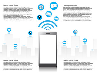 infographic smart phone can be use many channels, such as send picture, location, or transfer money.   vector illustration.