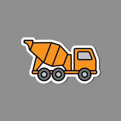 Concrete mixer sticker emblem. Yellow mixer truck label or badge. Construction machinery in flat.