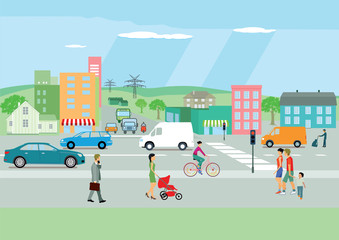 Straße in der Stadt mit Personen und Autoverkehr