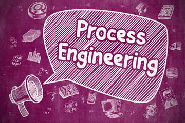 Shrieking Horn Speaker with Text Process Engineering on Speech Bubble. Hand Drawn Illustration. Business Concept.