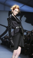 A model presents a creation from the Michael Angel Fall 2010 collection during New York Fashion Week