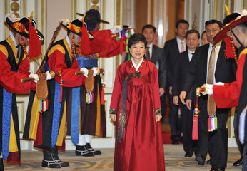 South Korea's new president Park Geun-Hye arrives for official dinner at the presidential Blue House in Seoul