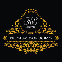 Gold decorative frame and monogram initials. Vector heraldic logo templates. An elegant business sign for a hotel, restaurant, cafe, jewelry, invitations, booklets and brochures.