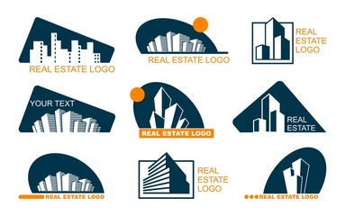 Real Estate Logo Set. Abstract creative building. Concept of the company brand