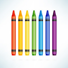 Crayons. Colorful wax pencils collection. Isolated vector illustration.