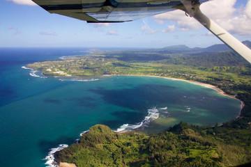 Aerial of Hanalei Bay on the hawaiian island of Kauai
