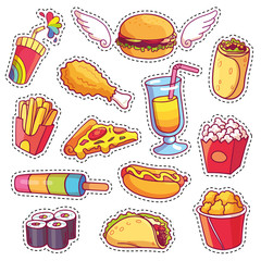 Cool cartoon set of fast food patch badges in pop art style. Vector collection of stickers and pins with meal.