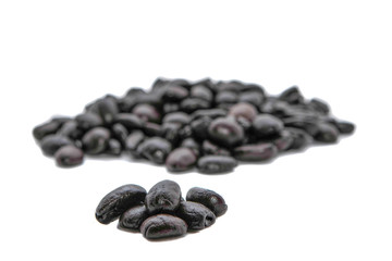 Black coffee beans on white backgrounds