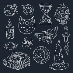 Cool set with mystic attributes and things in vector. Doodle magic patch badges and pins.