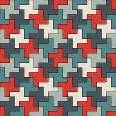 Seamless pattern with simple geometric ornament. Repeated puzzle mosaic abstract background.