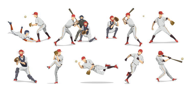 Baseball players set.