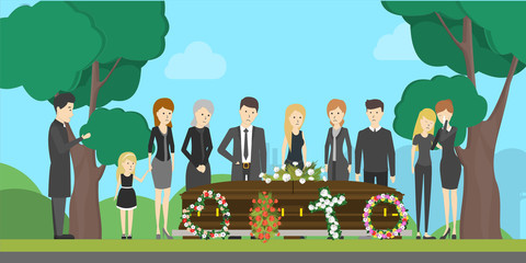 Funeral ceremony illustration.