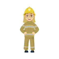Cartoon kid fireman.
