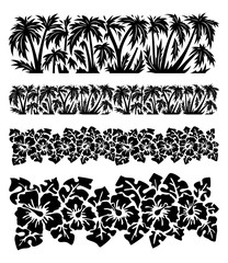 Palm trees and hibiscus flowers with monstera leaves. Tropical silhouette seamless borders.