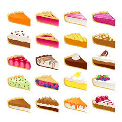 Colorful sweet pies slices set vector illustration.
