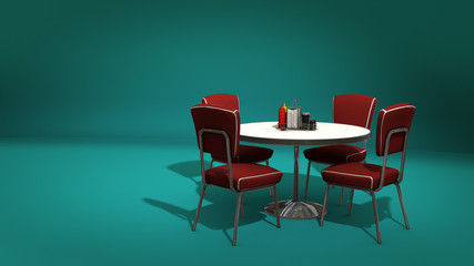 Retro Restaurant Dining table and Chairs