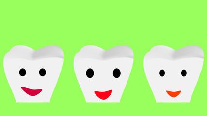 Zähne mit fröhlichem Gesicht