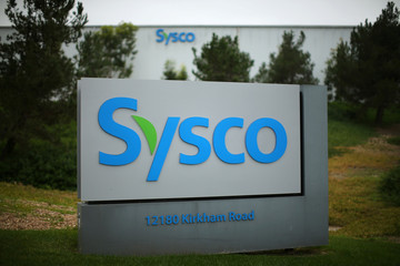 A Sysco sign is shown outside one of their distribution centers in Poway, California
