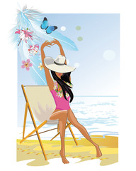 Fashion girl on the beach. Summer relax background.