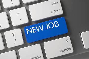 New Job Concept: Modern Keyboard with New Job, Selected Focus on Blue Enter Keypad. 3D Illustration.